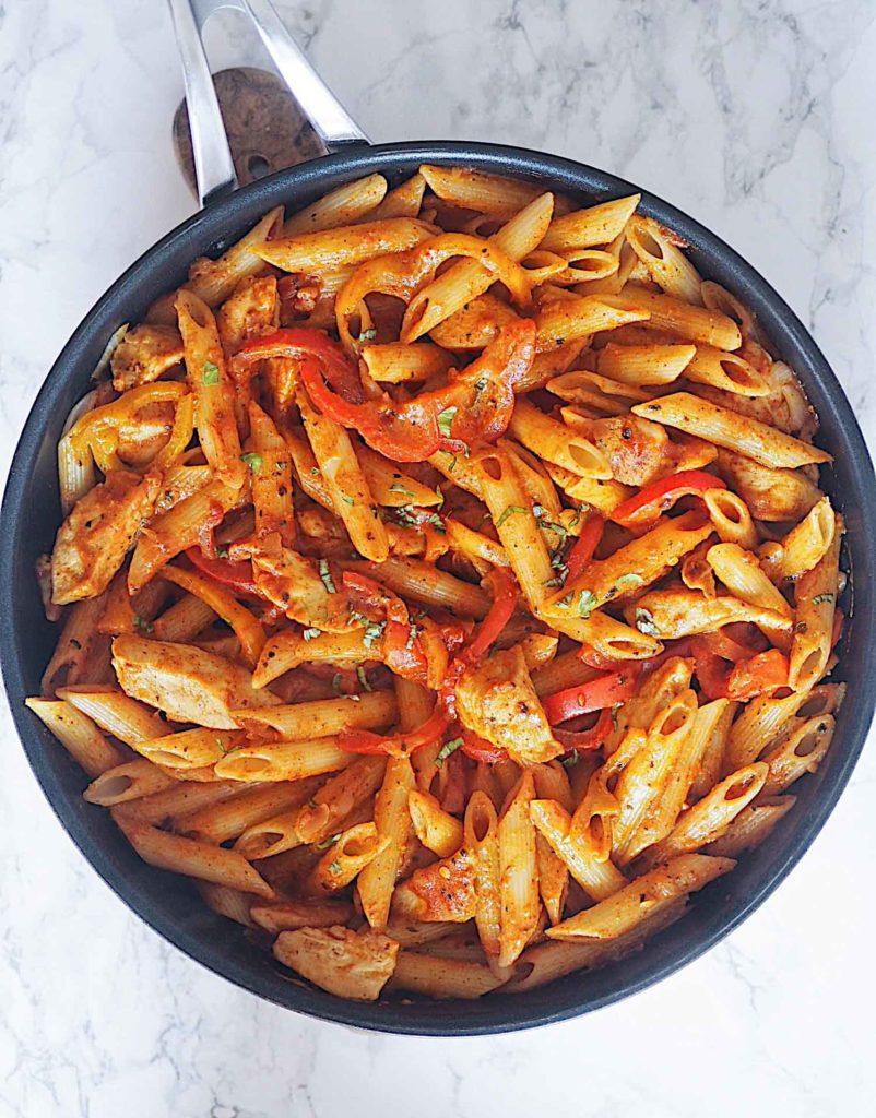 Fajita pasta med kylling