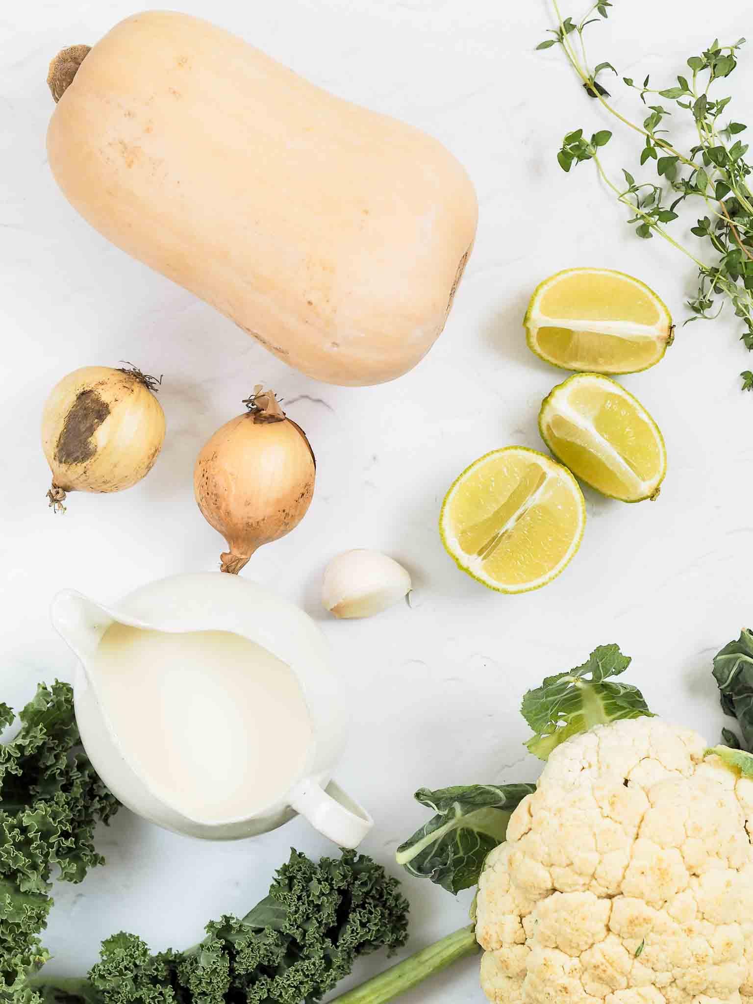 Vegetarisk ret med butternut squash og lime